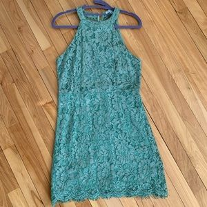 She and Sky Green high neck Lace dress